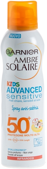 GARNIER AMBRE SOLAIRE Kids advanced sensitive spray anti-sabbia | Classifica creme solari | Altroconsumo